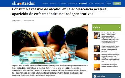 """""""El Mostrador"""" destaca estudio de Dr. Waldo Cerpa, sobre alcohol en jóvenes"""